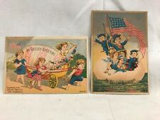 New listing 2) Great Orig. Victorian Trade Card Union Pacific Tea Co. Us Flag Easter America