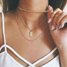 Multi Layer Pineapple Pendant Necklace Set Gold Choker Women Girl Charm Jewelry