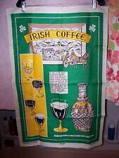 large Irish linen towel from Ireland original 1940 Irish coffee recipe & story