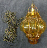 """17"""" Antique Caged Amber Bubble Glass Globe HANGING Pendant LAMP LIGHT 12' Chain"""