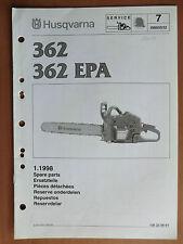 Ersatzteilliste HUSQVARNA Motorsäge Kettensäge 362 + EPA chain saw 1998 Walbro