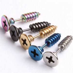 Women Men Fashion Stainless Steel Screw Earring Ear Stud Cool Rock Girl Boy Gift