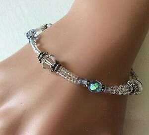 """Blue Ice"" Double Strand Crystal & Sterling Silver Handmade Bead Bracelet 7 5/8"""