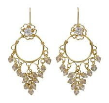 Convertiblez Earring set 4pc Jackets Posts Crystal Chandelier Gold Drop/Dangle