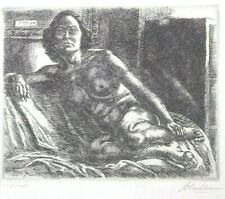 "John French Sloan [1871-1951] ""Nude Resting on Elbow"" etching 1931"