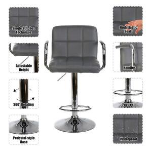 2PCS Faux Leather Breakfast Bar Stools Kitchen BarStools Chrome Swivel Chair