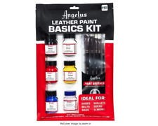Angelus Brand Leather Paint Basics Starter Kit with Deglazer and Paint Brush Set