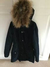Womens Hollister small parka navy jacket with fur hood
