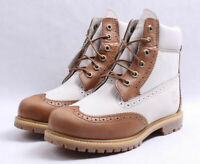 """TIMBERLAND - TB0A1G6T - Women's 6"""" Premium Boots - White / Brown - Size 9.5 M"""