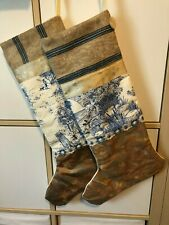 Pair Large handmade Christmas Stockings Fortuny Vtg Toile, Ticking, Ribbon Blue