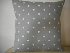 "GREY & WHITE SPOTTY (DOTTY) COTTON CUSHION COVER 16""/41cm"
