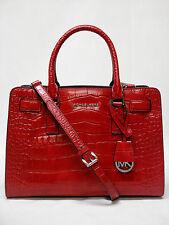 MICHAEL Michael Kors East-West Dillon Croc - Embossed Leather Satchel - Dark Red