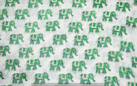 Indian 100% Cotton Voile Fabric green Multi Sewing 3 yard Hand Block Print Craft
