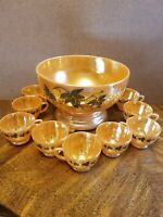 "Peach Lusterware Ivy Punch Bowl Set Punch Bowls 10"" x 5¼"" & 9 Cups 2 3/8"""