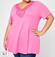 Women's Catherine's 3X Swing Tunic Tee Top Pink $50 Cottage Way Crochet Appliqué