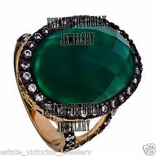 Artdeco estate 1.65Cts Pave Rose Cut Diamond Emerald Studded Silver Jewelry Ring