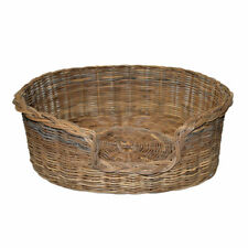 Rattan Ex-Large Pet Bed Basket Nest High End Quality Full Core Rattan Grey