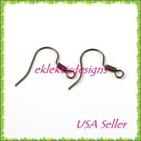 100pc Antique Copper Bronze French Style Fish Hook /& Coil Earrings Ear Wire 50pr