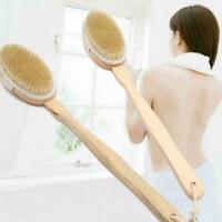 Body Bath Brush Back Massager Scrubber Long Handle Wooden Natural Showers J9V6