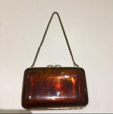 Vintage Bag Purse Handbag Clutch Amber Bakelite Faux Tortoise Shell