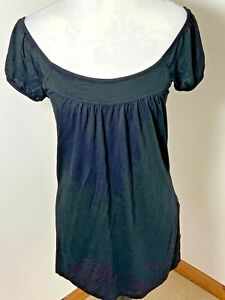 New Look Top Black Size 8 T-shirt Style Bardot Neckline Light Summer Blouse