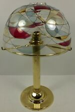 Party Lite Tall Brass Candle Lamp With Mosaic Glass Shade
