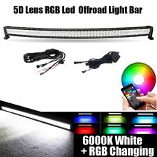 52inch 300W LED Curved Light Bar Offroad RGB Strobe Color Change Music Flash 5D