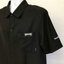 a45074610 NFL Eagles Shirt Onfield Reebok Black Short Sleeve Button Front Polyester  Mens M