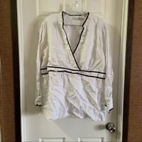 Alexandra Bartlett Women's White/Black V Neck Linen Top size 3X