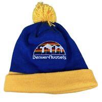 Mitchell & Ness Denver Nuggets Cuffed Winter Pom Knit Beanie Hat Cap!!