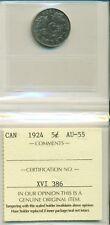 ICCS CAN 1924 5 cents AU-55 XVI 386