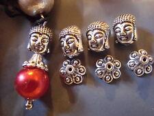 10 Buddah cara granos/Buddah Bead Caps 11 X 9mm Tibetano Plata Tibetana