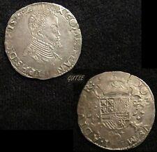 SPAIN, 26-FELIPE II, 1/5 OF ESCUDO 1566, BRUGES (BELGIUM), GVF, VERY SCARCE.
