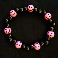 Acid House smiley Face Rave Bead Bracelet BNWT Party 90s Old Skool