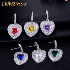 Cubic Zirconia Romantic Lover Heart 925 Silver Dangle Earrings for Women Jewelry