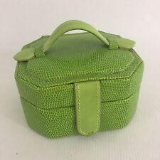 Small Green Leatherette Travel Jewelry Box Organizer Display Storage Case