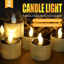 6/12PCS Solar Powered LED Candle Flameless Flickering Solar LED Tea Lights Lamp