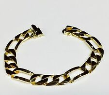 "14k solid Yellow gold handmade Figaro Curb link mens bracelet 8.5"" 35 grams 12MM"
