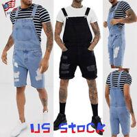 Men Jumpsuit Summer Denim Bib Casual Jeans Half Pants Ripped Shorts Suspender US