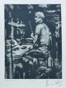 """RONNIE WOOD """"Charlie with drums"""" 2002 (Watts) HAND SIGNED ROLLING STONES Etching"""