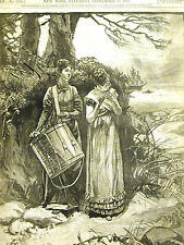 E.A. Abbey MUSICAL STRATAGEM Women Playing Flute and Drum 1878 Print Matted