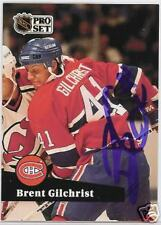 BRENT GILCHRIST 1992 PRO SET Montreal Canadiens   AUTOGRAPHED HOCKEY CARD JSA