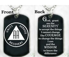 ALCOHOLICS ANONYMOUS W/SERENITY PRY - Dog tag necklace/key chain+FREE ENGRAVING