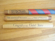 Vintage '70's Bicentennial 3-Part Parchment Copy BILL OF RIGHTS in Tube Teacher