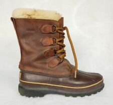 Sorel Womens 7 Alpine Boots Rubber Leather Duck Shoes Rain Snow Brown Lace Up