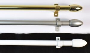 Bullet End Net & Voile Cafe Rods. 3 Sizes. 50-215cm. Brass Silver White + Rings
