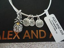 Alex and Ani PINEAPPLE III Russian Silver Charm Bangle New W/Tag Card & Box