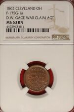 Cleveland Ohio Civil War Store Card Token Gage War Claim Oh-175G-1a Ngc Ms 63