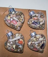 4 Heart Shaped Glass Ornaments Filled With Mini Seashells! Brand New!