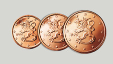 Monnaie 1,2,5 centimes cent cts euro Finlande 2005, neuves du rouleau, UNC